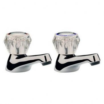 CHROME BATH TAPS CLEAR TAP HEADS 3/4""